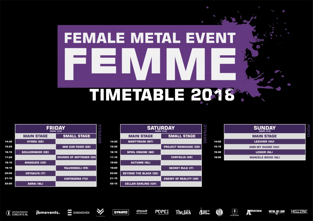 Time schedule femme 2018 has been announced